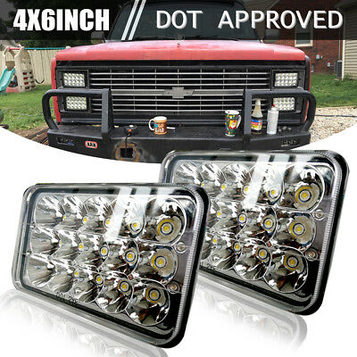 "4x6"" LED Headlights fit Kenworth T400 T600 T800 W900L Classic 120/132 Geo Metro"