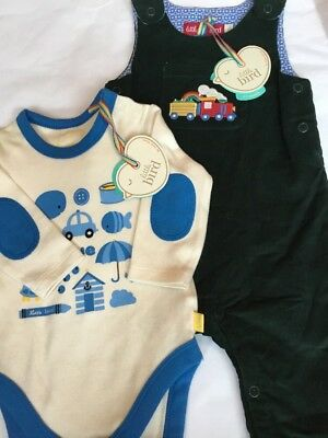 Little Bird By Jools Oliver Train Design Dungarees & Patterned Bodysuit 0-3