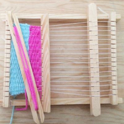 Educational DIY Kids Toys Wooden Handloom Yarn Weaving Knitting Shuttle Loom LV