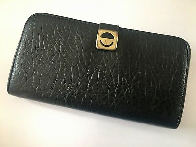 Vintage 1970s Navy Faux Leather Ladies Purse with Metal Clasp - Made in England