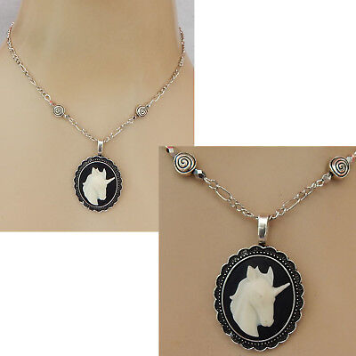 Unicorn Necklace Cameo Style Pendant Jewelry Handmade NEW Adjustable Silver