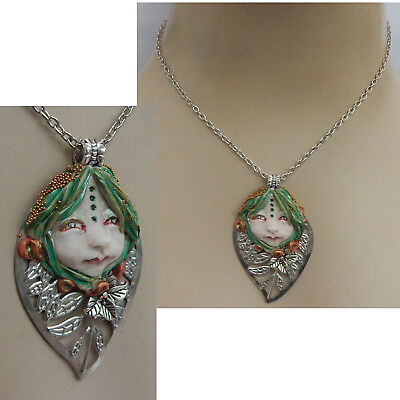 Fairy Face Pendant Necklace Handmade OOAK Artist Original Chain Fairies Silver