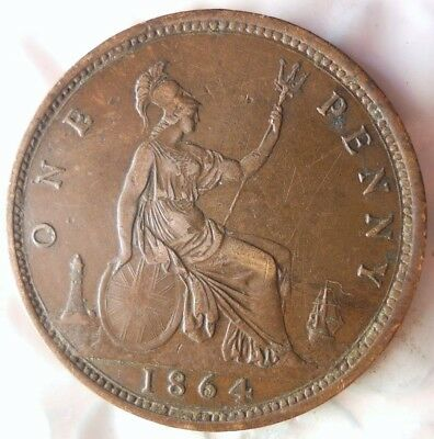 1864 GREAT BRITAIN PENNY - High Quality Rare Date Coin - Big Value - Lot #111