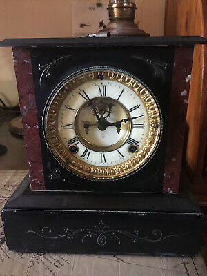 Antique  Ansonia Marble Mantle Clock ,made In U.s.a.