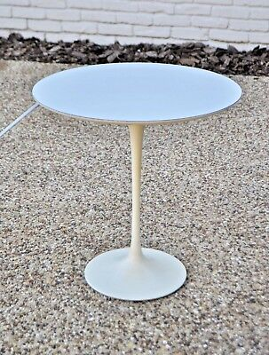 Knoll Saarinen Vtg Mid Century Modern White Tulip Side End Table DWR Signed