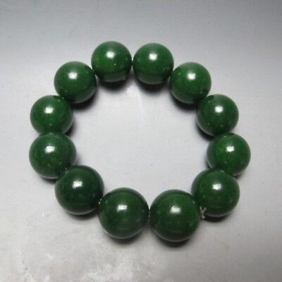100% Natural Green Hetian Jade Hand-carved Beads Bracelet a01