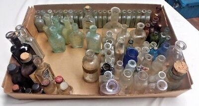 Medicine Bottle Collection Huge Lot Antique Vintage Small Cork Top Labels Unique