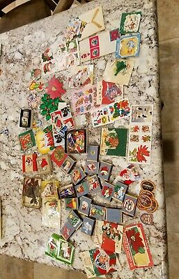 Vintage Mixed Lot Loose Christmas Tags Holiday Gift Stickers 1950's huge large