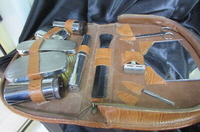 Vintage Mens Travel Grooming Kit / Toiletry Set In Leather Case Circa 1950's