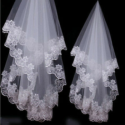 One Layer Appliques Ivory Bridal Veil Wedding White Lace Edge Accessories Veils