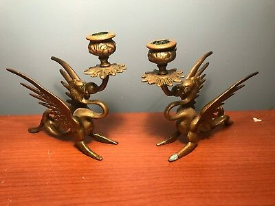 Pair Vintage Brass Dragon Candle Holder Candlestick set