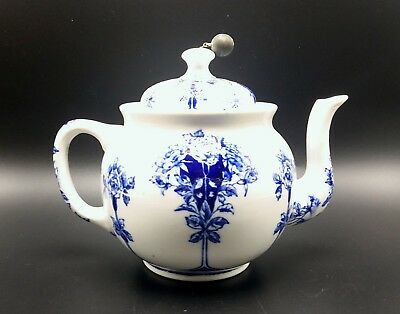 Antique Buffalo pottery, China teapot blue and white with strainer
