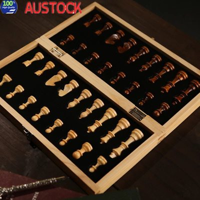 40*40cm Large Chess Wooden Set Folding Chessboard Magnetic Pieces Board AU