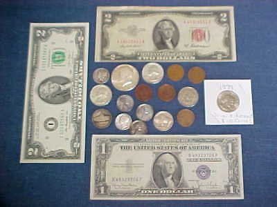 Lot of SILVER US.Coins, OLD CURRENCY tokens, $7.00+ face... Junk Drawer find!
