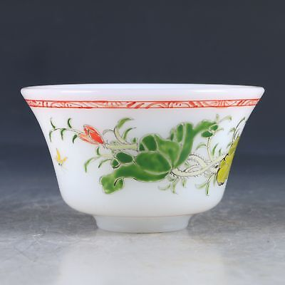 Chinese Colored Glaze Hand-Carved Flower & Bird Bowl W Qianlong Mark MY0014