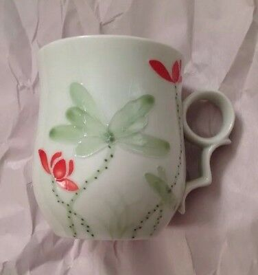 Teavana Fine Porcelain Tea Coffee Mug Floating Lotus Green Floral Design