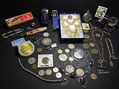 Junk Drawer Lot 925 Sterling Gold Tone Jewelry Silver Coins Watches Knife Rings