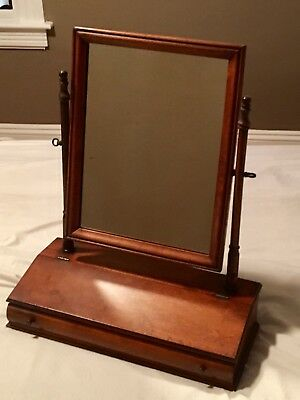 Gany Table Top Antique Shaving Mirror With Drawer Early 19th Century