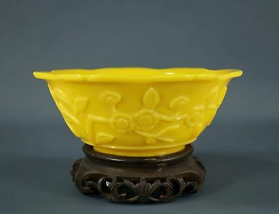 Antique Chinese Qing Hand Carved Imperial Chicken Fat Yellow Peking Glass Bowl