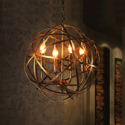 Industrial Vintage Rustic Wrought Iron Style Aged Brass Candle Chandelier Globe