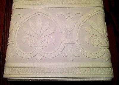 """Vintage Lot of 2 Paintable 7"""" TEXTURED WALLPAPER BORDER 15' each * Pre-pasted *"""