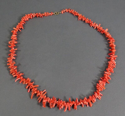 Antique Natural Mediterranean Salmon Red Coral Branch Beads Necklace Choker 18g