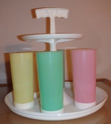 Tupperware Carousel Caddy w/Six Cups~Retro~1961~Vintage~Millionaire LIne