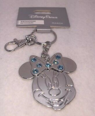 Disney Parks Icon Minnie Mouse March Birthstone Metal Keychain New
