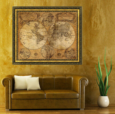 Vintage Cloth Sign Old World Maps Home Bar Pub Garage Decor Nautical Poster Gift