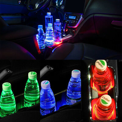 5 Color Optional Solar Led Light 6.8cm Universal Cup Holder Pad Mat For Auto