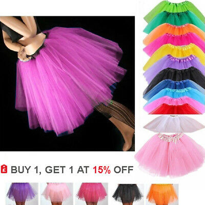 High Quality Ladies Girls Kids Tutu Skirt Fancy Skirt Dress Up Party 3 Layers ♢