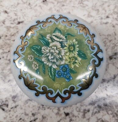 Collectible Daher Metal Round Tin w/Lid Blue Green Gold w/Floral Pattern England
