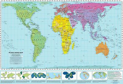 Gall-Peters Equal Area World 1270 x 1000mm Laminated Wall Map