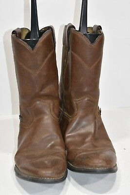 106b9597e12 JUSTIN BASICS MENS 10.5 D Brown Leather Round Toe Western Cowboy Boots  Ropers