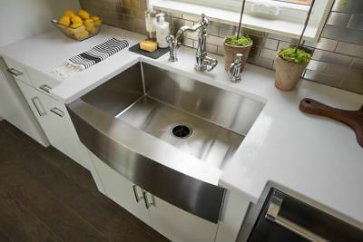"""33"""" Hand Made Apron Front Stainless Steel Single Bowl Farmhouse Kitchen Sink 16G"""
