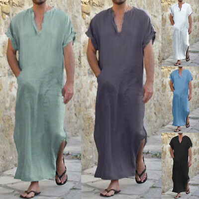 Men Arabia Kaftan Shirt Plus Size S-5XL Dubai 100% Cotton Vintage Long Tops Robe