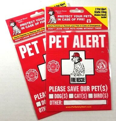 PET SAFETY ALERT  4 Pack Static Window Fire Rescue Sticker Dog Pet Emergency