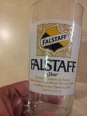 Vintage FALSTAFF BEER GLASS Early Label St Louis New Orleans Made in France NICE