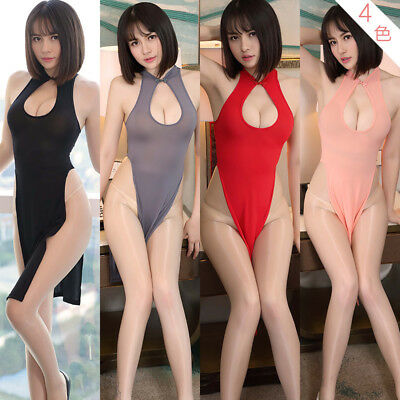 be46a7ec899 Women Cheongsam High Side Split Sheer Costumes Dress Open Bra Funny Lingerie