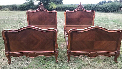 BEAUTIFUL PAIR OF FRENCH ANTIQUE CUSTOM SINGLE WALNUT ROCOCO BEDS - c1890