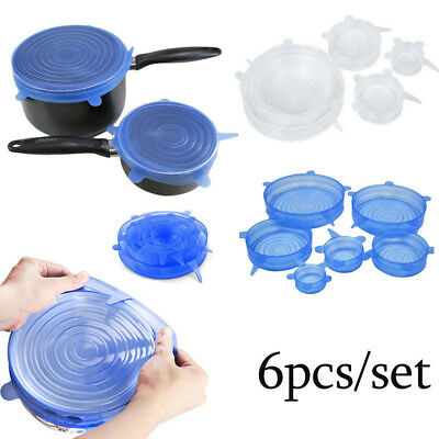 6PCS Stretch Reusable Silicone Bowl Wraps Food Saver Cover Seal Insta Lids IW