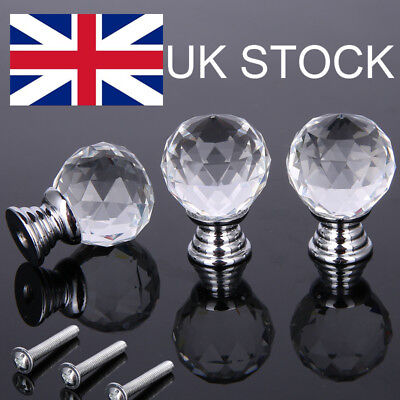 16pcs 30mm Diamond Shape Crystal Glass Door Cupboard Drawer Handle Pull Knobs UK