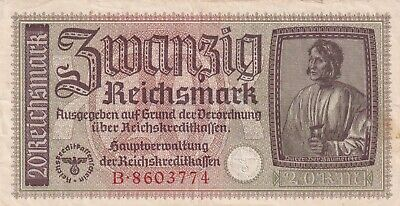 Germany, 20 Reichsmark  (1940-1945) Occupied Territories WWII (B322)