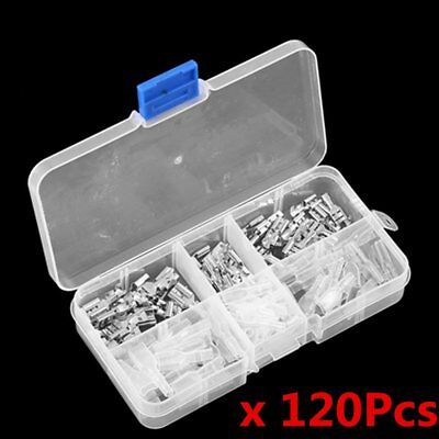 120pcs Assorted Crimp Spade Terminal Insulated Electrical Wire Connector Kit SAN