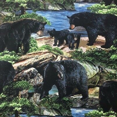 CLEARANCE SALE Bears Landscape Sewing Quilting Fabric FQ Wild Wings SALE