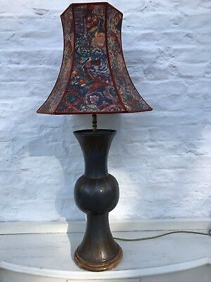 Antique Tall Metal And Brass Lamp