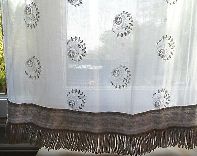 Pair Antique French Tambour Lace Curtains   Shabby Chic 98.5 x 31.5  ins