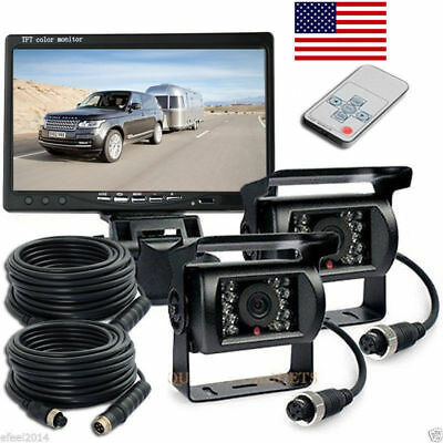 """Wireless 7 """"Monitor 2x Rear/Side View Backup System Camera For Truck RV Trailer"""