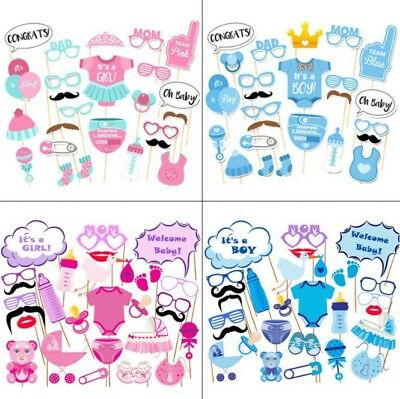 30PCS Baby Shower Photo Booth Props Little Boy Mister New Born Party Decoration