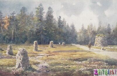 Culloden - Cairn & graves of the clans - vintage art postcard Scotland